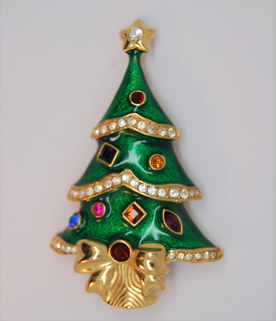 Franklin Mint Christmas Tree Figural KJL Brooch - 1997