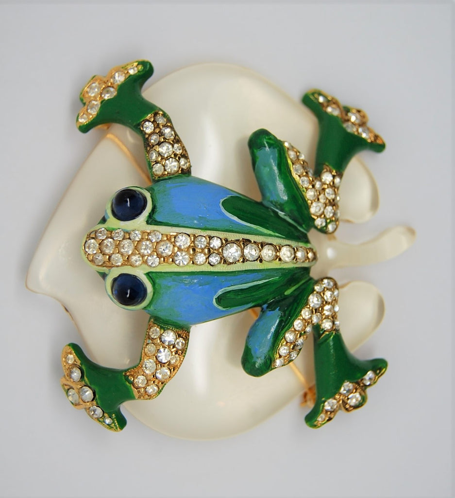 Trifari Frog Lilypad Lucite Jelly Belly Restrike Figural Brooch - 1970s