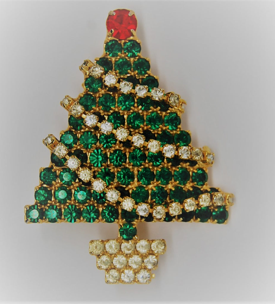 Christmas Tree Pave Rhinestone Garland Figural Brooch - dates to 1980s
