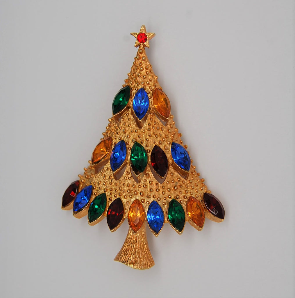 JJ Multi Rhinestone Gold Tone Early Christmas Tree 1960s