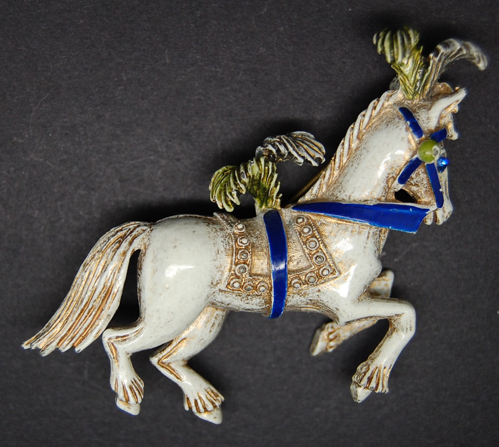 Florenza Circus Horse Figural Pin Brooch - Mink Road Vintage Jewelry