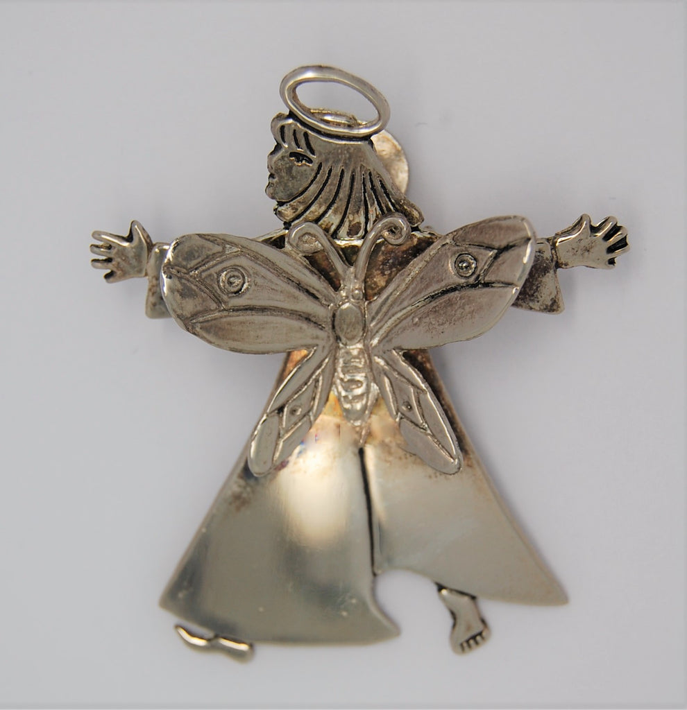 Castillo Butterfly Guardian Angel Figural Clip Tree Brooch