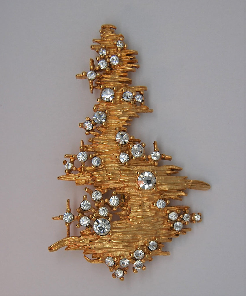 Erwin Pearl Gold Tone Christmas Tree Figural Brooch - HTF 1997