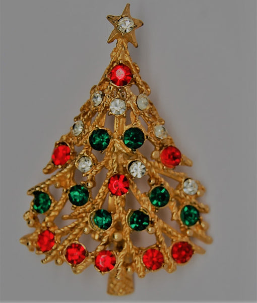 Christmas Branch Rhinestone Tree Figural Brooch - dates to 1970s
