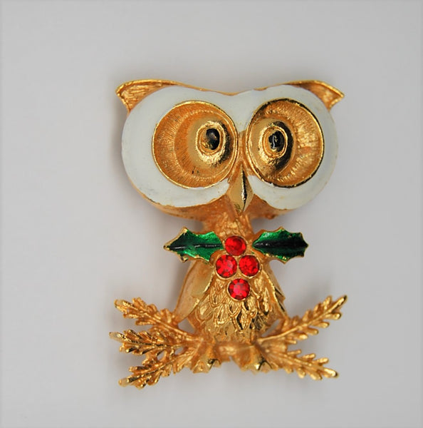Corel Christmas Holly Berries Owl Vintage Figural Brooch - 1970s