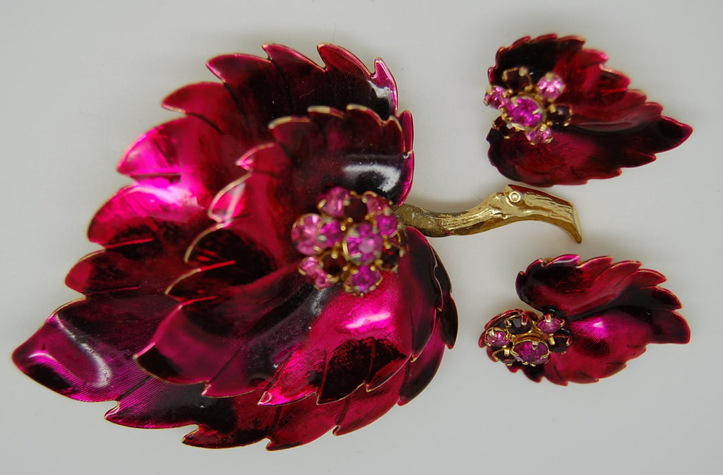 Weiss Burgundy Fuchsia Stacked Enamel Leaf and Earrings Set 1950s - Mink Road Vintage Jewelry