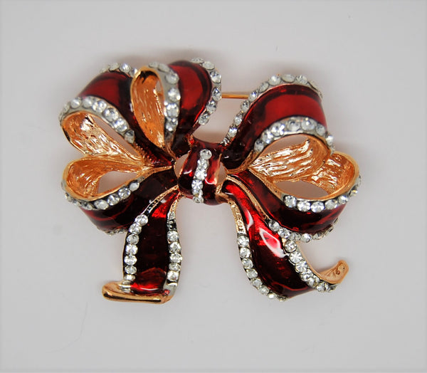 Swarovski Swan Christmas Holiday Enamel Bow Figural Brooch