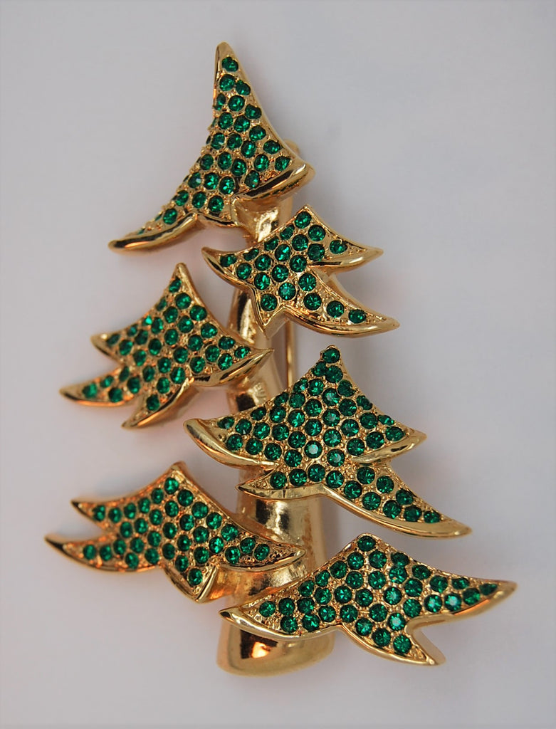 Carolee Limited Edition Christmas Green Bough Tree Figural Brooch - 1990s