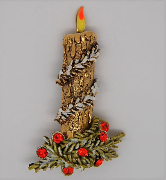 ART Holiday Christmas Garland Candle Vintage Figural Brooch - 1960s