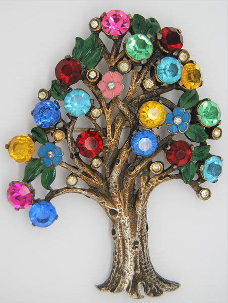 Art Deco Tree of Life Oak Vintage Figural Brooch 1930s to 1940s