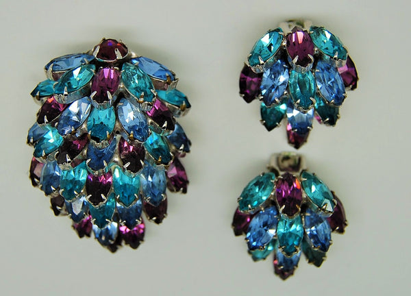 Weiss Stacked Waterfall Blue Purple Fur Clip Brooch and Earrings - Mink Road Vintage Jewelry