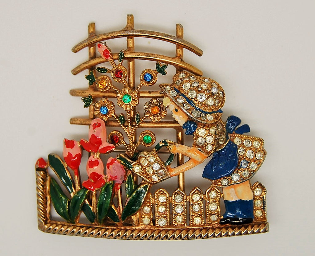 Mistress Mary Garden Girl Floral Pot Metal Enamel Brooch 1940s - Mink Road Vintage Jewelry