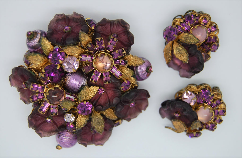DeMario NY Floral Purple Art Glass Mourning Brooch & Earrings Rare - 1940s