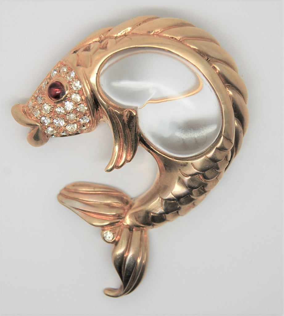 Hobe Jelly Belly Koi Fish Vintage Figural Brooch