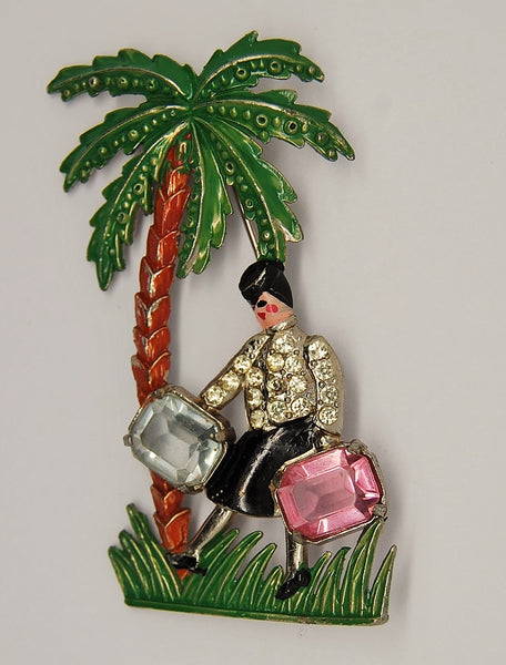 Bauman Massa Suitcase Lady Bellhop Attributed Figural Brooch 1940s - Mink Road Vintage Jewelry