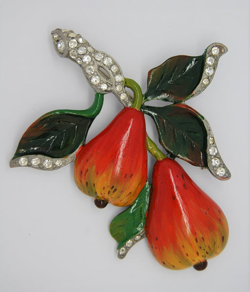 Weiss Double Pears Floral Vintage Figural Brooch - Pot Metal 1940s