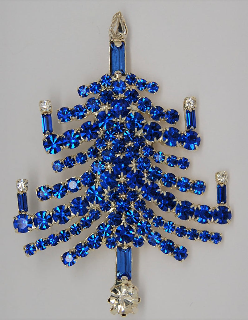 Blue Rhinestone Christmas Tree Branch & Candles Figural Brooch