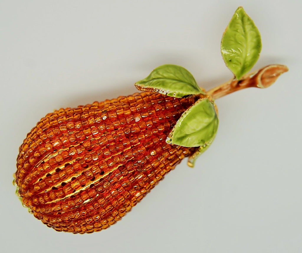Vendome Fruit Golden Beaded Pear Figural - 1950s Rare - Mink Road Vintage Jewelry