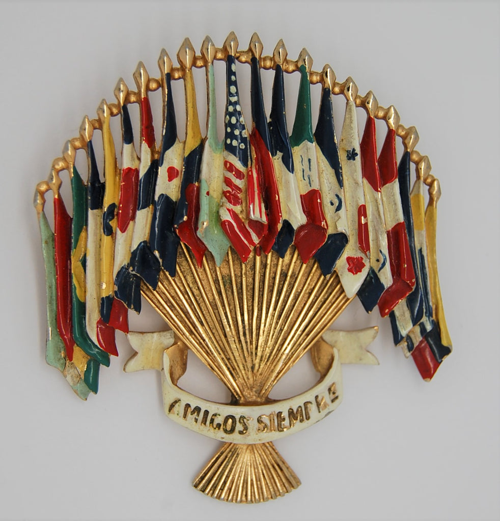Coro Friends Forever Gaba Emblem of the Americas Vintage Patriotic Brooch - 1941