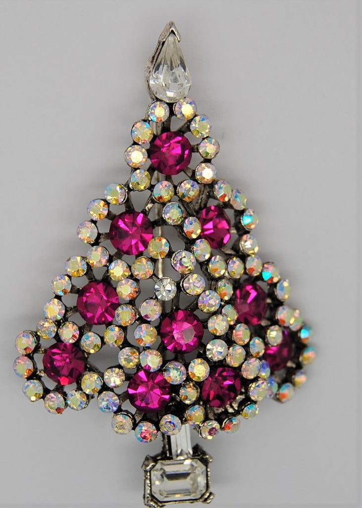 Lisner Christmas Ruby Aurora Vintage Holiday Figural Tree Brooch