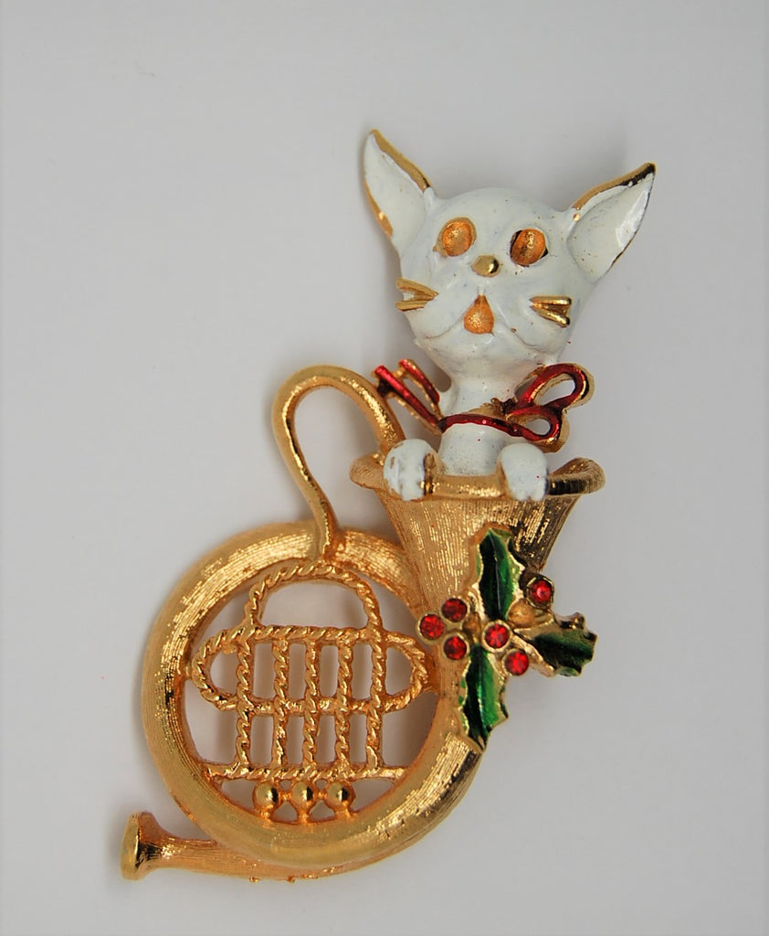 Corel Christmas Holly Cat Just Hanging in a Trombone Vintage Figural Brooch