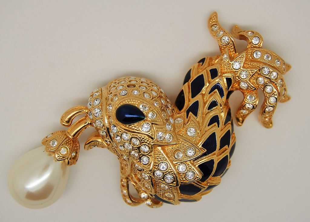 Berebi Limited Edition Enamel Fish with Pearl Figural Brooch - Mink Road Vintage Jewelry