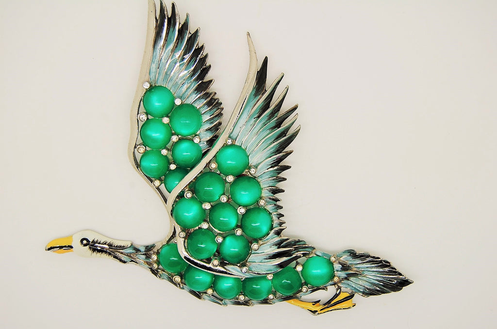 Coro Flying Goose Green Moonstones Enamel Brooch Pin - Mink Road Vintage Jewelry