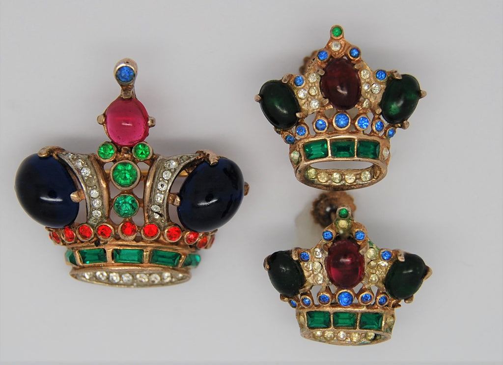 Trifari Crown and Matching Earrings A Philippe Sterling Figural Set - 1940s