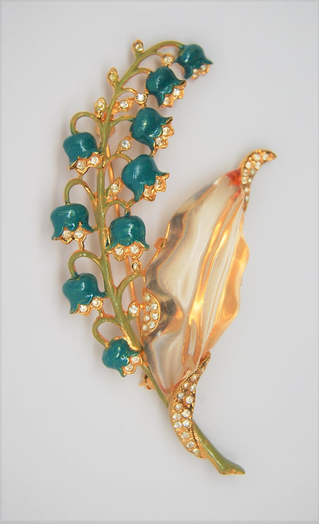 Crown Trifari Enamel Lilys of the Valley Philippe Jelly Belly Restrike Vintage Figural Brooch 1970s