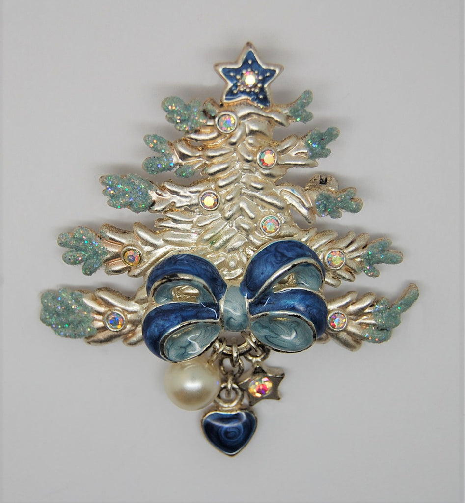 Christmas Tree Having a Blue Blue Holiday Figural Brooch