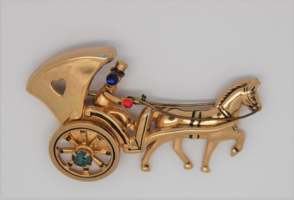 Coro Pegasus Golden Carriage Vintage Figural Brooch - late 40's