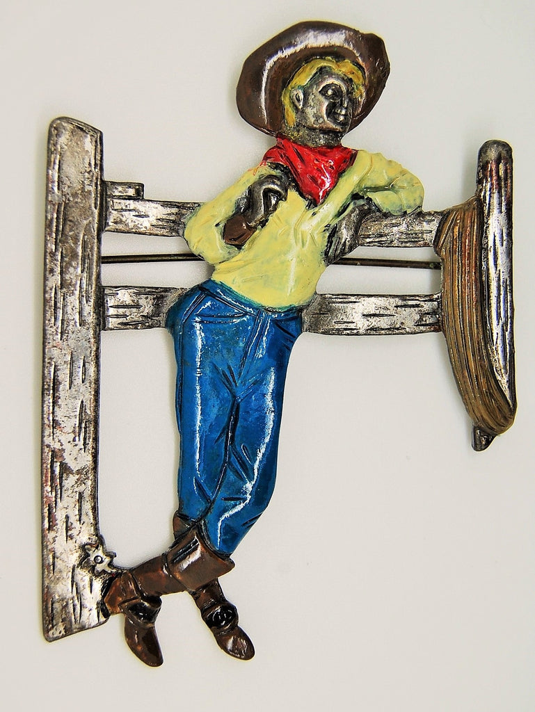 Cowboy Fence Enamel Pot Metal Figural  Brooch Pin 1942 Series - Mink Road Vintage Jewelry