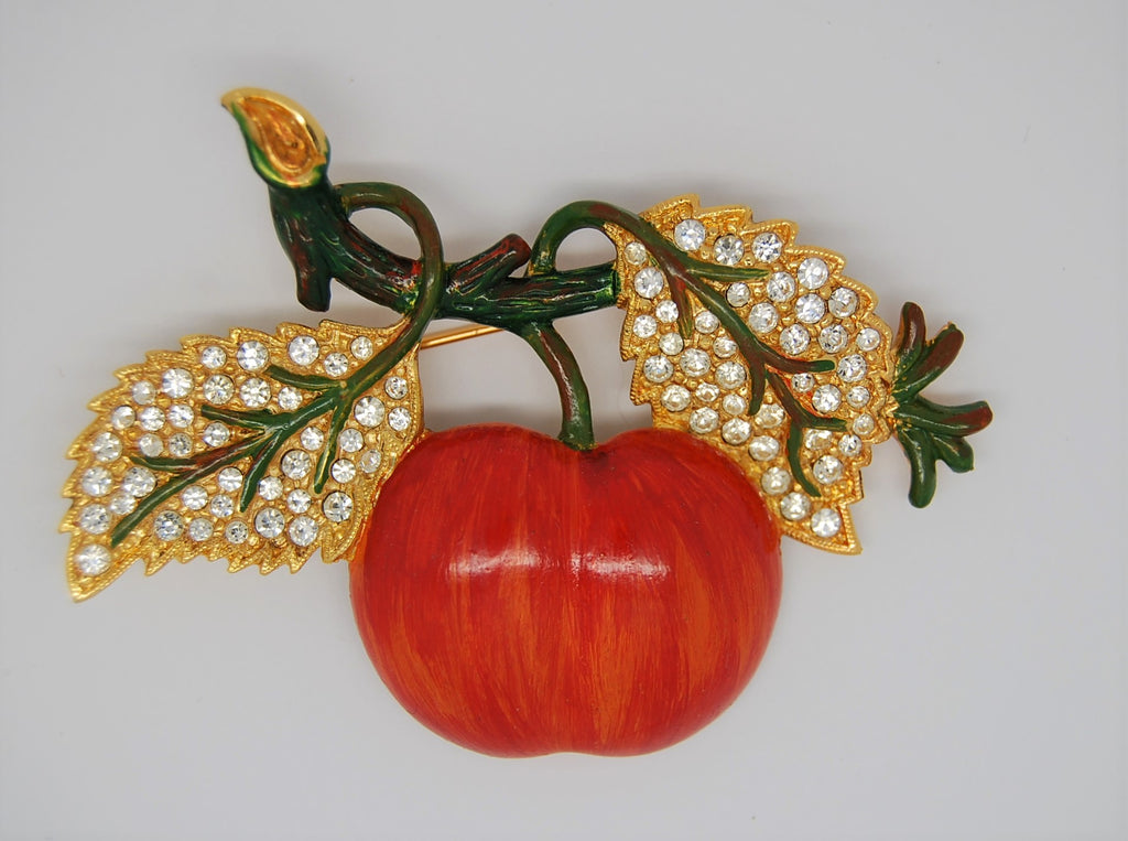 Weiss Apple and Leaves Vintage Figural Brooch