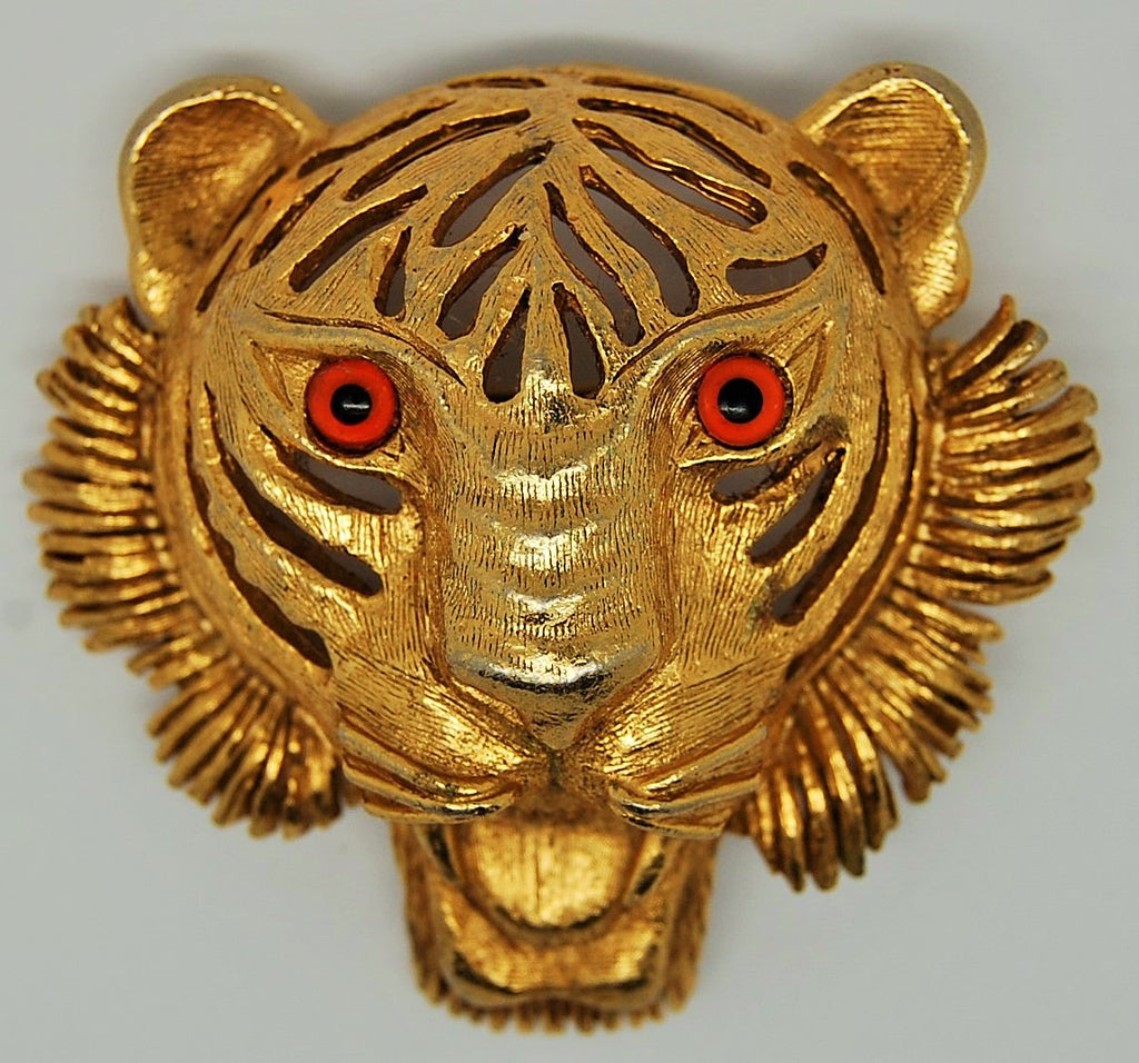 Florenza Tiger Open Work Amber Eyes Figural Brooch - Rare - Mink Road Vintage Jewelry