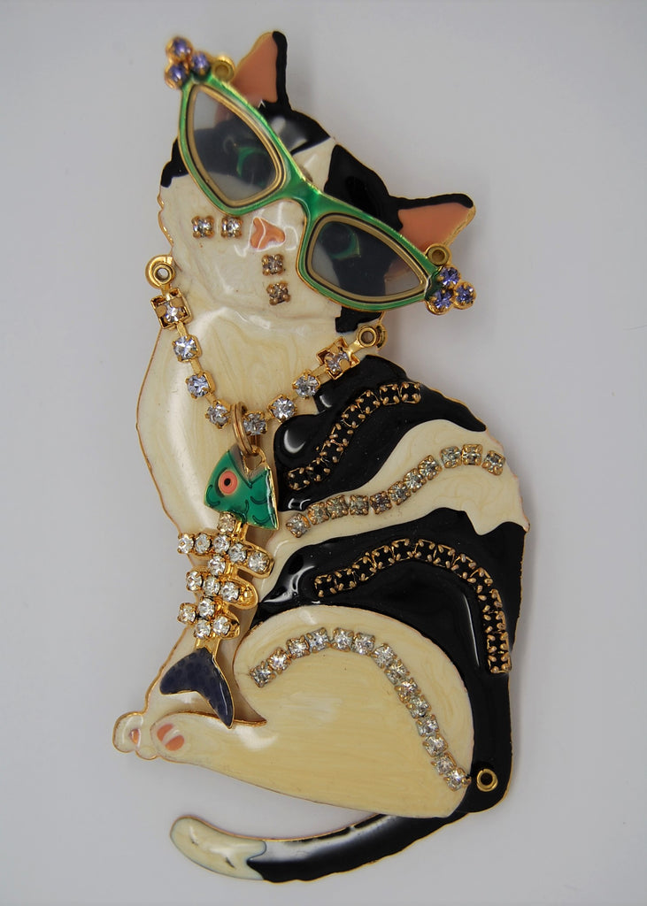 Lunch at the Ritz Glamour Cat Vintage Figural Brooch