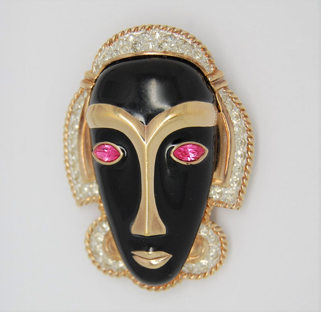 Panetta Black Gold Mask Vintage Figural Brooch - Mint