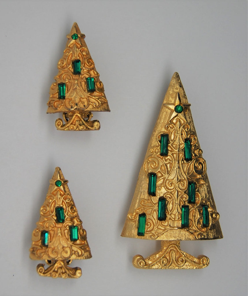 Mylu Christmas Cathedral Tree Vintage Brooch & Earring Set - 1950s