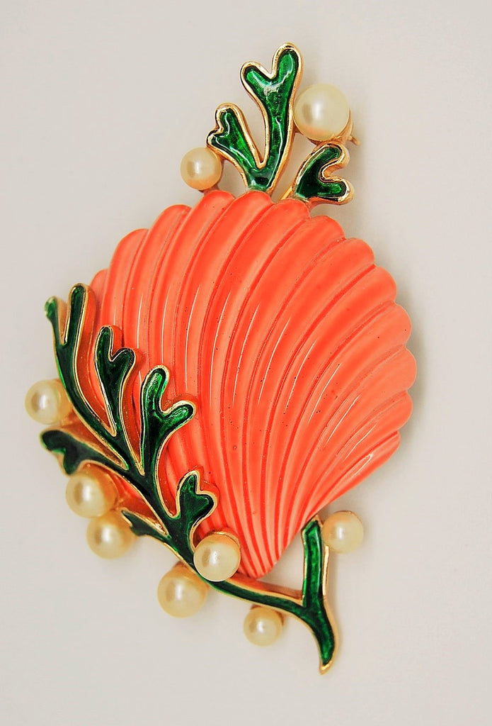 Crown Trifari Under the Sea Orange Shell Green Seawood A Philippe Brooch - Mink Road Vintage Jewelry