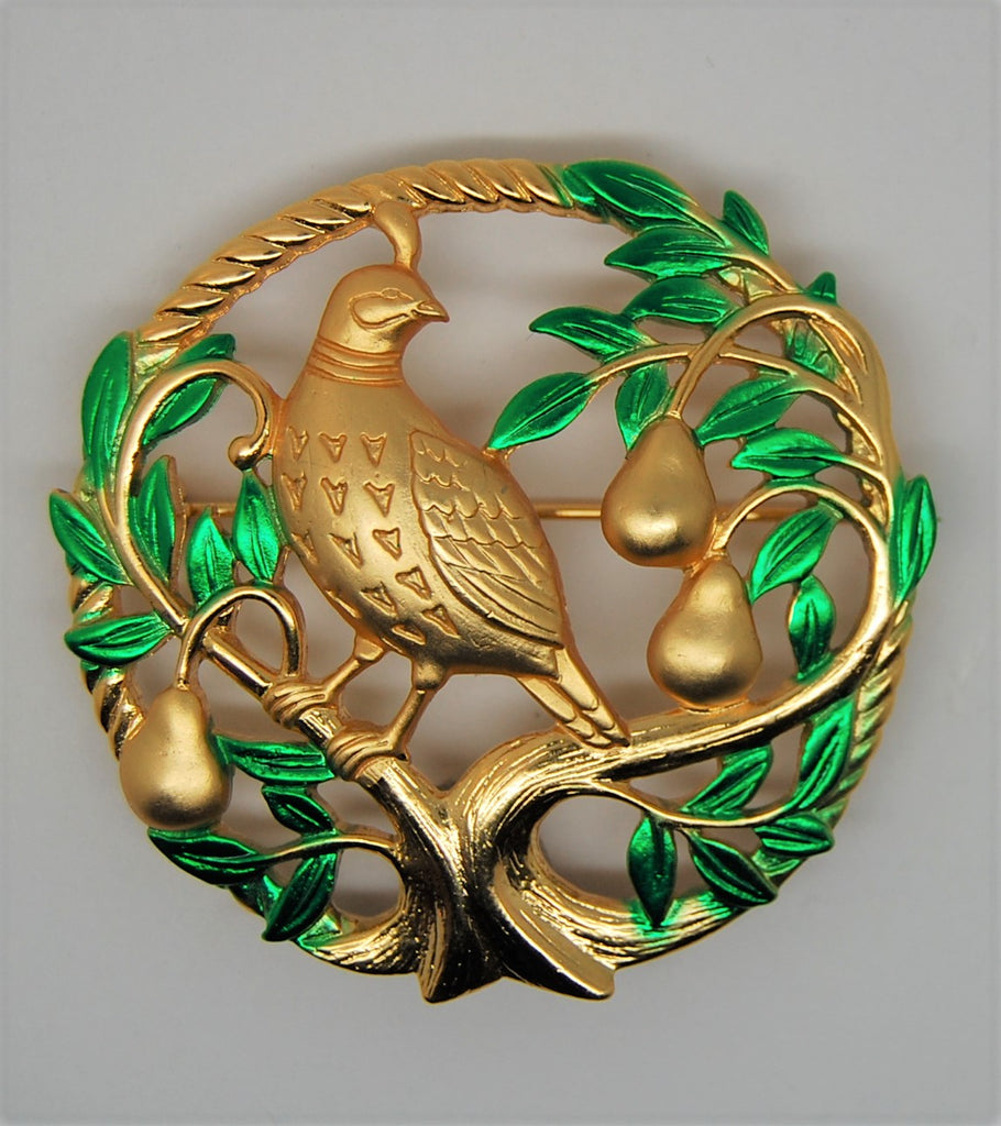 JJ Jonette Partridge Pear Tree Circle Vintage Figural Brooch