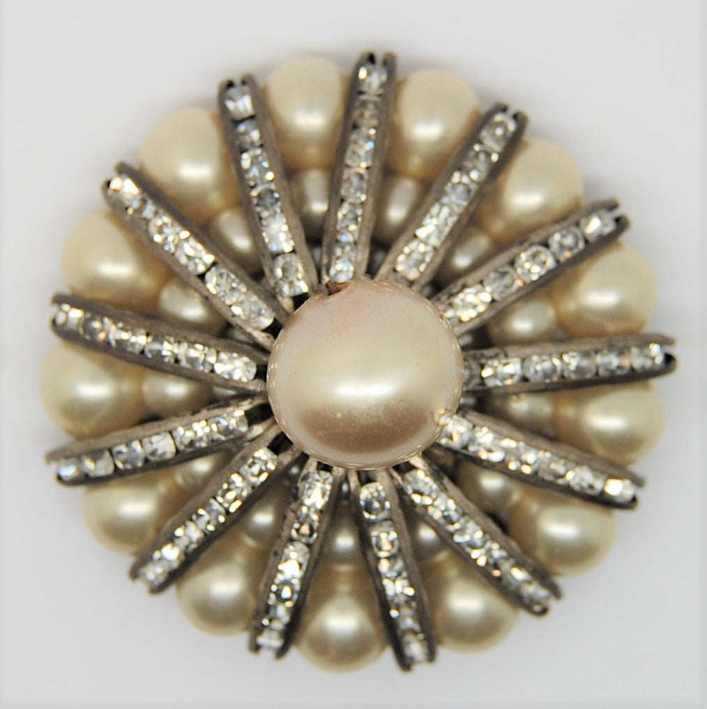 Art Deco Pearl & Rhinestone Starburst Vintage Figural Dress Clip Pin Brooch