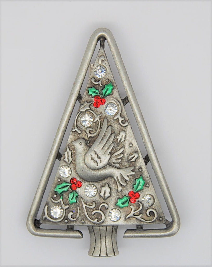 JJ Peace Dove Silver-tone Christmas Tree Brooch - long retired HTF
