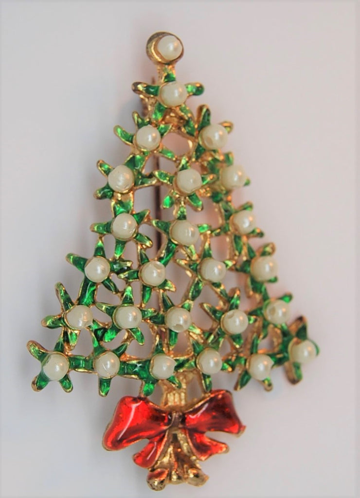 Pearl Accented Christmas Tree Figural Brooch - 1980s