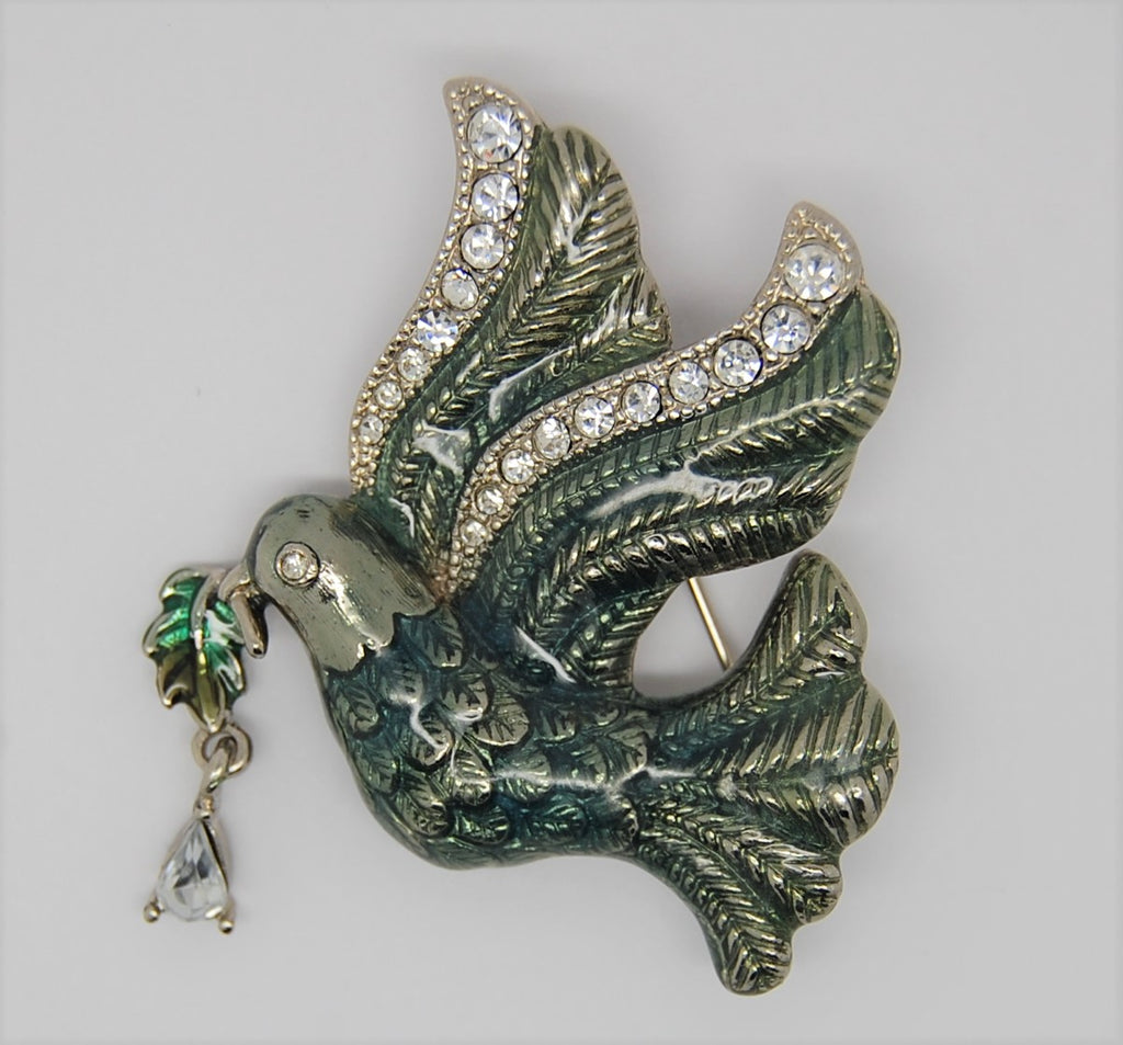 Monet Christmas Enamel Dove Holly Sprig Figural Brooch