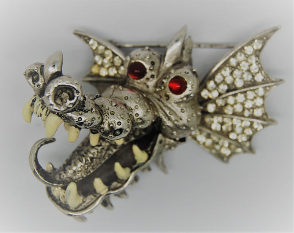 Carnegie Toothy Dragon Figural Brooch - 1960s
