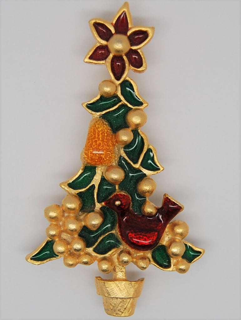 Beatrix Christmas Partridge Pear Tree Figural Brooch - 1970s