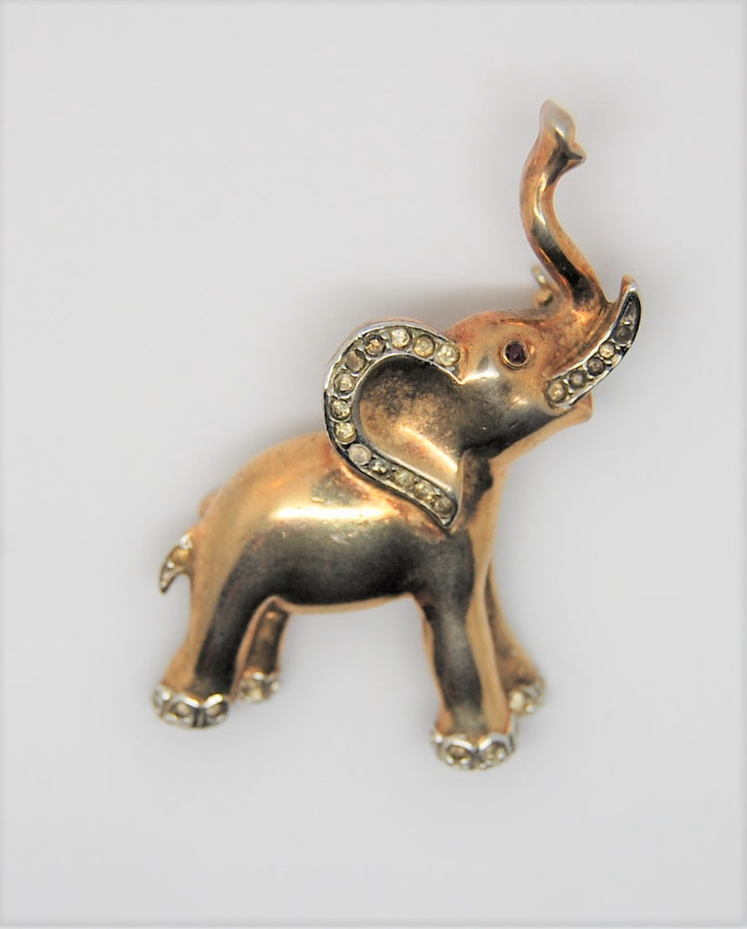 Trifari Elephant Gold Plated Trunk Up for Luck Vintage Figural Brooch