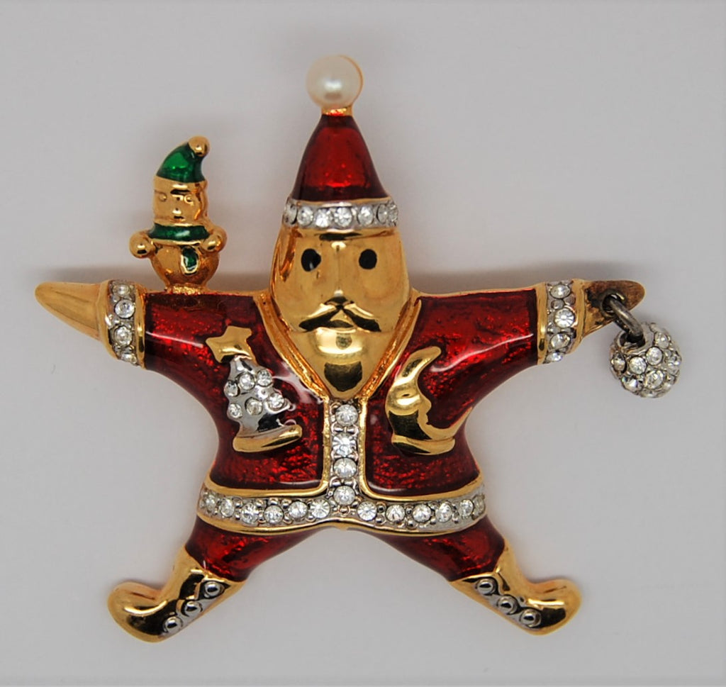 KJL Franklin Mint Christmas Star Santa Vintage Brooch - HTF
