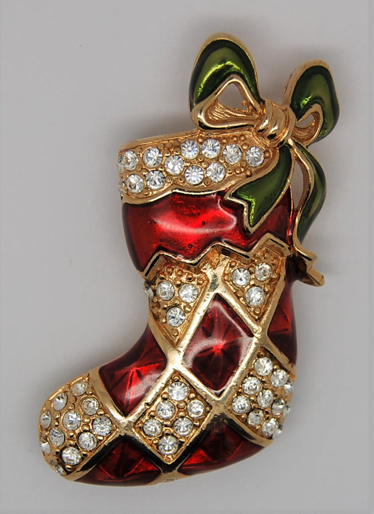 Monet Christmas Enamel Rhinestone Stocking Figural Brooch