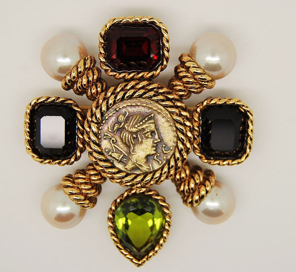 Ciner Roman Coin Brooch Figural with Pearls - Mink Road Vintage Jewelry