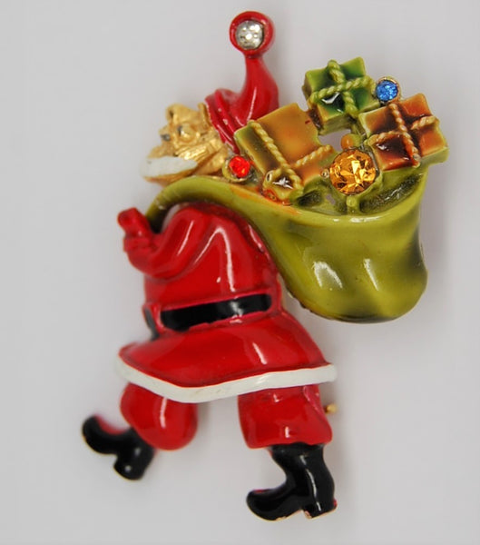 ART Santa Claus Vintage Figural Holiday Brooch 1960s